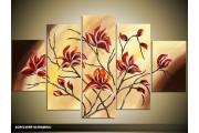 Acryl Schilderij Magnolia | Geel, Bruin, Rood | 100x60cm 5Luik Handgeschilderd