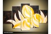 Acryl Schilderij Tulpen | Geel, Bruin, Zwart | 100x60cm 5Luik Handgeschilderd