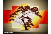 Acryl Schilderij Boom | Geel, Rood, Bruin | 100x60cm 5Luik Handgeschilderd