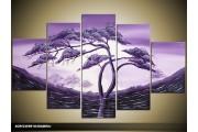 Acryl Schilderij Natuur | Paars | 100x60cm 5Luik Handgeschilderd