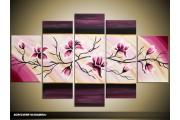 Acryl Schilderij Magnolia | Roze, Paars, Geel | 100x60cm 5Luik Handgeschilderd