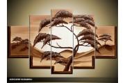 Acryl Schilderij Natuur | Bruin, Crème, Geel | 100x60cm 5Luik Handgeschilderd
