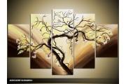 Acryl Schilderij Boom | Bruin, Crème, Geel | 100x60cm 5Luik Handgeschilderd