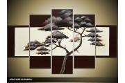 Acryl Schilderij Boom | Bruin, Crème | 100x60cm 5Luik Handgeschilderd