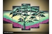 Acryl Schilderij Boom | Groen, Paars, Geel | 100x60cm 5Luik Handgeschilderd
