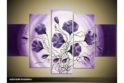 Acryl Schilderij Bloem | Paars, Crème | 100x60cm 5Luik Handgeschilderd