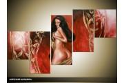 Acryl Schilderij Kunst, Sexy | Rood, Goud | 150x70cm 5Luik Handgeschilderd