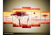 Acryl Schilderij Natuur | Oranje, Crème, Rood | 150x70cm 5Luik Handgeschilderd