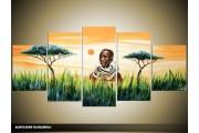 Acryl Schilderij Afrika | Groen, Geel, Oranje | 150x70cm 5Luik Handgeschilderd