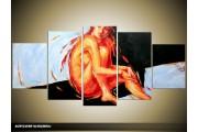 Acryl Schilderij Modern | Oranje, Blauw, Zwart | 150x70cm 5Luik Handgeschilderd