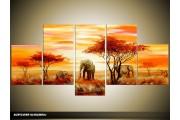 Acryl Schilderij Natuur | Oranje, Geel, Rood | 150x70cm 5Luik Handgeschilderd