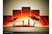 Acryl Schilderij Natuur | Rood, Crème, Zwart | 150x70cm 5Luik Handgeschilderd