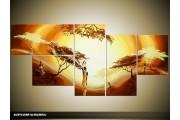 Acryl Schilderij Natuur | Geel, Bruin, Oranje | 150x70cm 5Luik Handgeschilderd
