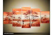 Acryl Schilderij Natuur | Bruin, Oranje, Crème | 150x70cm 5Luik Handgeschilderd