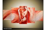 Acryl Schilderij Kunst, Sexy | Bruin, Rood | 150x70cm 5Luik Handgeschilderd