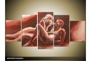 Acryl Schilderij Kunst, Sexy | Rood, Bruin, Crème | 150x70cm 5Luik Handgeschilderd