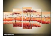 Acryl Schilderij Natuur | Rood, Bruin, Geel | 150x70cm 5Luik Handgeschilderd