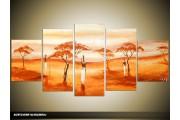 Acryl Schilderij Natuur | Oranje, Geel, Crème | 150x70cm 5Luik Handgeschilderd