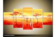 Acryl Schilderij Natuur | Rood, Oranje, Geel | 150x70cm 5Luik Handgeschilderd