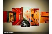 Acryl Schilderij Venetie | Rood, Oranje | 150x70cm 5Luik Handgeschilderd