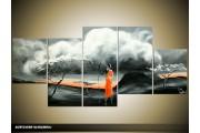 Acryl Schilderij Natuur | Rood, Oranje, Grijs | 150x70cm 5Luik Handgeschilderd