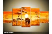 Acryl Schilderij Natuur | Oranje, Bruin, Geel | 150x70cm 5Luik Handgeschilderd