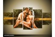 Acryl Schilderij Kunst, Sexy | Groen, Goud | 150x70cm 5Luik Handgeschilderd