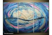 Acryl Schilderij Modern | Blauw, Crème, Roze | 120x80cm 3Luik Handgeschilderd