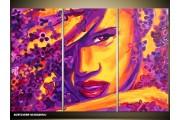 Acryl Schilderij Vrouw | Paars, Oranje, Geel | 120x80cm 3Luik Handgeschilderd