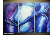 Acryl Schilderij Modern | Blauw, Wit, Paars | 120x80cm 3Luik Handgeschilderd
