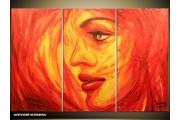 Acryl Schilderij Vrouw | Oranje, Rood, Geel | 120x80cm 3Luik Handgeschilderd