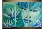 Acryl Schilderij Vrouw | Blauw, Groen | 120x80cm 3Luik Handgeschilderd