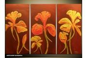 Acryl Schilderij Bloemen | Bruin, Geel | 120x80cm 3Luik Handgeschilderd