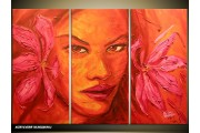 Acryl Schilderij Vrouw | Roze, Oranje | 120x80cm 3Luik Handgeschilderd