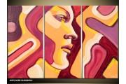 Acryl Schilderij Vrouw | Geel, Paars | 120x80cm 3Luik Handgeschilderd