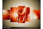 Acryl Schilderij Kunst, Sexy | Rood, Oranje | 150x70cm 5Luik Handgeschilderd