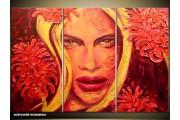Acryl Schilderij Vrouw | Rood, Geel | 120x80cm 3Luik Handgeschilderd
