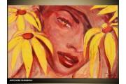 Acryl Schilderij Vrouw | Geel, Bruin | 120x80cm 3Luik Handgeschilderd