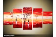 Acryl Schilderij Natuur | Rood, Geel, Wit | 150x70cm 5Luik Handgeschilderd