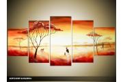 Acryl Schilderij Natuur | Rood, Geel, Oranje | 150x70cm 5Luik Handgeschilderd
