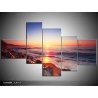 Glas schilderij Zonsondergang | Rood, Oranje, Grijs | 150x85cm 5Luik
