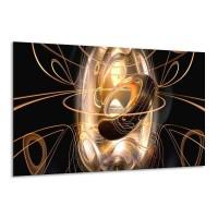 Canvas schilderij Abstract | Zwart, Wit, Goud | 120x70cm 1Luik