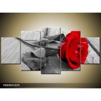 Canvas schilderij Roos | Rood, Grijs | 150x70cm 5Luik