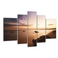 Glas schilderij Zee | Geel, Bruin, Zwart | 170x100cm 5Luik