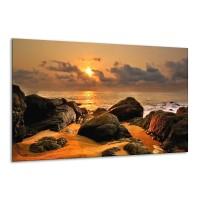 Glas schilderij Zonsondergang | Geel, Grijs | 120x70cm 1Luik