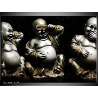 Foto canvas schilderij Boeddha | Zwart, Wit, Goud