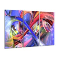 Glas schilderij Abstract | Paars, Rood, Geel | 120x80cm 3Luik
