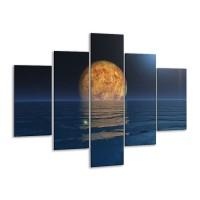 Glas schilderij Maan | Blauw, Bruin | 100x70cm 5Luik