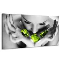 Canvas schilderij Gezicht | Zwart, Grijs, Groen | 170x90cm 1Luik