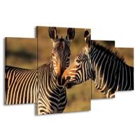 Glas schilderij Zebra | Zwart, Wit, Bruin | 160x90cm 4Luik